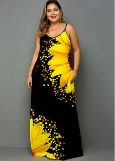 Plus Size Spaghetti Strap Sunflower Print Side Pocket Maxi Dress Sunflower Print, Plus Size Maxi Dresses, Sleeveless Dresses, Trendy Dresses, Spaghetti Strap Dresses, Dresses Online, Party Dress, Black Silhouette, Women's Clothes