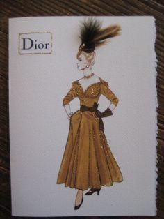 "Christian Dior 1947 fashion illustration ""New Look Cocktail Dress"