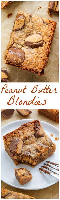 Soft and chewy 5-Ingredient Vegan Peanut Butter Blondies!