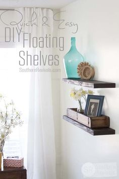 Southern Revivals | Quick, Easy & Cheap DIY Floating Shelves - NO building required! #diy #floatingshelves #tutorial SouthernRevivals.com