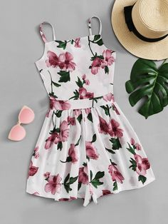 Knot Back Floral Cami RomperFor Women-romwe Cute Comfy Outfits, Cute Girl Outfits, Cute Summer Outfits, Girly Outfits, Outfits For Teens, Pretty Outfits, Pretty Dresses, Stylish Outfits, Teenager Outfits
