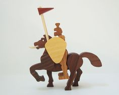 Wooden Knight War Horse Action Figures Medievel Castle Figurines Wooden Knight Decoration Knight and Horse Toy