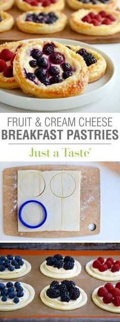 Breakfast pastry recipes - Fruit and Cream Cheese Breakfast Pastries recipe via justataste com Cream Cheese Breakfast, Breakfast Pastries, Breakfast Dishes, Breakfast Recipes, Dessert Recipes, Breakfast Ideas, Breakfast Fruit, Puff Pastries, Breakfast Healthy