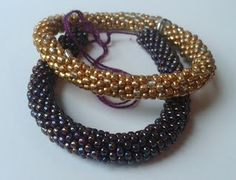 Golden and purple bead bracelets, purple is made from Toho beads, crocheted