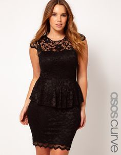ASOS CURVE Exclusive Peplum Dress In Lace.  Is this girl supposed to be plus size?  Umm she looks fabulous!