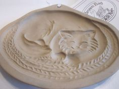 Vintage 1988 BROWN BAG COOKIE ART Pottery Cookie Mold of a SLEEPING CAT ON A RUG #BrownBagCookieArt