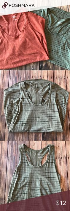Lot of 2 Mossimo Loose Fit Racer Back Tanks XS Lot of 2 Mossimo loose fit racer back Tanks. Back seam detail. Slight high low hem. One olive green with stripe. One rusty orange. Excellent condition. Size XS. Bundle and save! Mossimo Supply Co. Tops Tank Tops