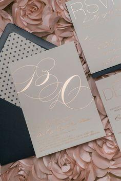 JESSICA Suite Cutie Package, rose gold foil, navy polka dots, elegant wedding invitation