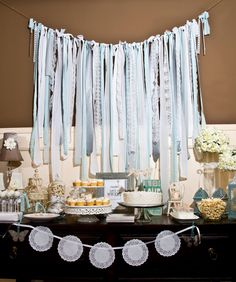 Silver/ Soft Gray/ Light Turquoise/ Seafoam/ White Vintage Fabric Lace Streamer / Backdrop for Wedding/ Baby/ Bridal Shower (HWTM Featured). $110.00, via Etsy.