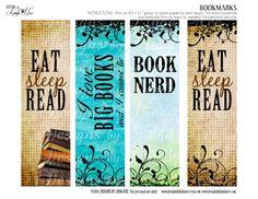 BOOKMARKS  Printable BOOK Nerd Bookmarks  by DesignsbyLindaNee