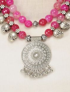 Pink Faceted Onyx Thread Necklace with Paisley Design