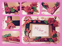 Wood frame decorated with Polymer clay.