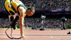 South Africa's Oscar Pistorius starts in a men's 400-meter heat during the athletics in the Olympic Stadium at the 2012 Summer Olympics, London.