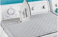 25 Life Hacks for Small Apartments: Cut a quilt thinly and place magnets on the back of it. When you need to iron something, just slap the quilt on top of the dryer, and it will save you the hassle of having to store an ironing board.