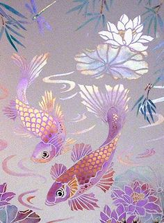 Love the metallic accents. Other options on the same page for different colors. Watercolor Art, Japanese Art, Fish Art, Animal Art, Mural Stencil, Fish Drawings, Painting, Art, Koi Art