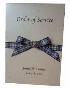 A5 Wedding Order of Service on Candlelight Cream card with Menzies tartan ribbon and a gold toned diamante heart ribbon slide www.lilguy.co.uk