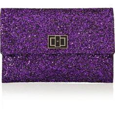 Anya Hindmarch Valorie glitter-finished clutch (1.795 DKK) ❤ liked on Polyvore featuring bags, handbags, clutches, purses, purple, purple leather handbag, 100 leather handbags, purple purse, purple leather purse and leather clutches