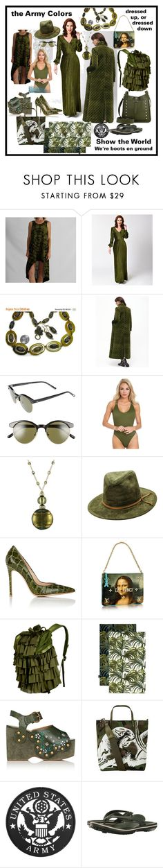 """army green"" by caroline-buster-brown ❤ liked on Polyvore featuring Voodoo Vixen, Oliver Peoples, Gianvito Rossi, Puma, House of Hackney, Marc Jacobs, Valentino, Crocs, Rebecca Minkoff and favoritecolor"