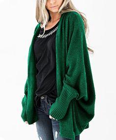 Camisa Green Dolman Open Cardigan - Women | Best Price and Reviews | Zulily Slouchy Cardigan, Open Cardigan, Sweater Cardigan, Cardigans For Women, Amazing Women, Snug, Boho, Green, Sweaters