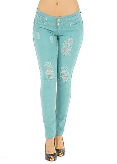 Ripped Butt Lifting Jeans (Aqua) in Jeans