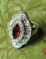 ICED RUBY MARQUIS CRYSTAL RING