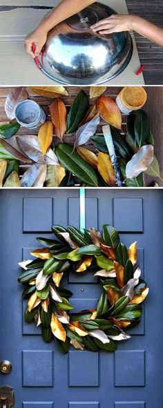 These magnolia leaves are turned in to an amazingly decorative Christmas wreath, You will need some gold and silver paint and a whole bunch of Magnolia leaves. learn how to make it here.