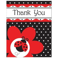 'Ladybug Fancy' Thank You Cards 8pack £2.89