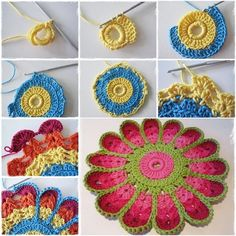 Crochet Fácil - 30 Ideas paso a paso ⋆ Manualidades Y DIY Beau Crochet, Crochet Diy, Crochet Home, Crochet Flower Patterns, Crochet Flowers, Yarn Crafts, Sewing Crafts, Christmas Crochet Blanket, Crochet Hot Pads