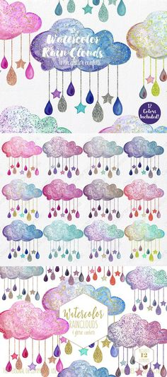Watercolor colorful and bright Rain Clouds Clipart Graphics in Rainbow colors & Metallic Gold & Purple Glitter effect. Watercolor Clouds, Watercolor Lettering, Watercolor Paintings, Watercolors, Rain Drop Drawing, Cloud Drawing, Bullet Journal Art, Bullet Journal Themes, Rain Cloud Tattoos
