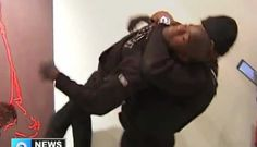 """Security guard tackling the person defacing """"The Spear"""""""