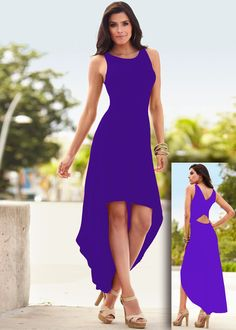 Highlight with the pure color and sleeveless design,this dress can show your perfect shape and create a illusion for stunning curves.And the irregular design is a bright point. Material:Polyester Size