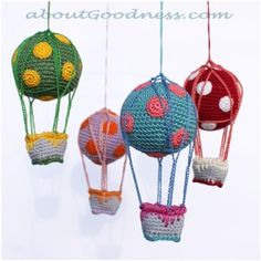 Hot Air Balloon amigurumi crochet pattern (perfect for a DIY baby crib mobile) maybe paper mache Crochet Diy, Crochet Amigurumi, Love Crochet, Crochet Gifts, Amigurumi Patterns, Crochet For Kids, Crochet Dolls, Crochet Patterns, Amigurumi Toys
