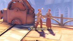 Bioshock Infinite Easter Egg! If you look through the telescope at the beginning you see Robert Lutece juggling baseballs with Rosalind watching. Lutece twins!
