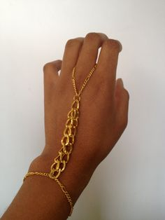 Gold Chain Hand Bracelet Slave Bracelet by WorldofTashii on Etsy, $15.00 - Great in silver!!