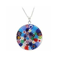 Murano pendant. Great gift for friends. Beautiful bed of delicate glass flowers.