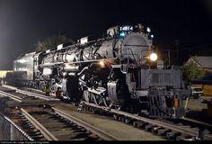 Union Pacific's steam crew makes final preparations to move Big Boy 4014 Union Pacific Railroad, Union Pacific Train, Big Boy 4014, Old Steam Train, Pennsylvania Railroad, Train Art, Train Pictures, Night Train, Old Trains