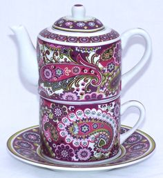 "Vera Bradley Fine Porcelain China Tea for One Set ""Very Berry Paisley"" Chintz.very sixties/seventies feel Tea For One, My Cup Of Tea, Chocolate Pots, Chocolate Coffee, Tea Cup Saucer, Tea Cups, Pink Teapot, Teapots And Cups, Paisley Pattern"