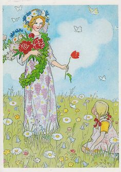 Elsa Beskow 'Fairy of Midsummer', illustration from 'The Flower's Festival' Elsa Beskow, Poster Shop, Flower Festival, Flower Fairies, Children's Book Illustration, Vintage Children, Folklore, Vintage Art, Fairy Tales