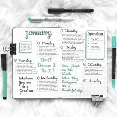 Bullet journal weekly layout, cursive daily headers, spending log. | @nini.journal