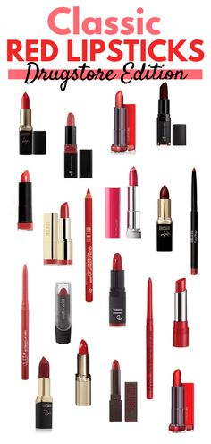 Classic red lipsticks and lip liners you can find from the drugstore Today is National Lipstick Day! Fun fact: Huda Kattan (founder of Huda Beauty) was declared the modern founder of National Lipstick Day in 2016 Best Drugstore Lipstick, Best Red Lipstick, Red Lipsticks, Lipstick Tricks, Drugstore Skincare, Cheap Makeup, Simple Makeup, National Lipstick Day, Makeup Over 40