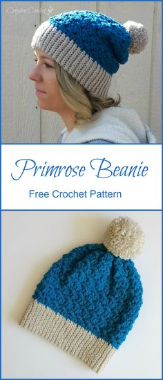 FREE CROCHET PATTERN - Crochet this beautiful and textured beanie using the Primrose stitch! Pattern by Croyden Crochet
