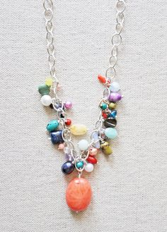 I would love to get this!   Genevieve - Gemstone Cluster Necklace