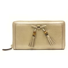 Gucci Bamboo Tassel Metallic Leather Continental Zip Around Wallet 269 - LuxuryProductsOnline
