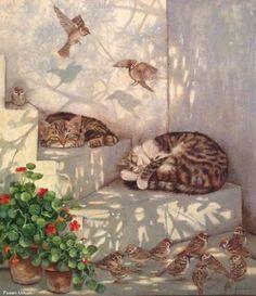 Celebrate Each New Day - Katzen Animal Paintings, Animal Drawings, Cat Drawing, Beautiful Cats, Cat Love, Cat Art, Cats And Kittens, Cute Cats, Watercolor Art