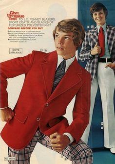 J.C. Penney slacks and blazers for boys, 1970s.