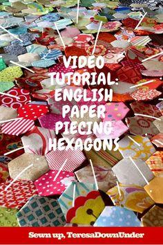 English paper piecing (EPP) hexagons