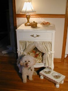 19 DIY Dog Beds Condo Blues: 19 DIY Dog Beds - okay this is cute and looks easy, just a nightstand with the drawers removed and deocorated with a pillow and curtains<br> 19 cool and unique dog beds for large, medium, and small dogs to buy or DIY Dog Furniture, Upcycled Furniture, Furniture Ideas, Automotive Furniture, Automotive Decor, Handmade Furniture, Luxury Furniture, Furniture Design, End Table Dog Bed