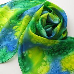Silk Scarf - Mermaid - Hand Painted Ladies Scarves Blue Sapphire Royal Green Yellow.