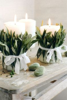 Foliage and candles wedding decor ideas