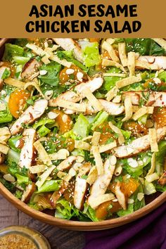 A copycat recipe for Panera's Asian Sesame Chicken Salad. Crispy, fresh romaine, sliced almonds, sesame seeds, tender sliced grilled chicken, and wonton strips — all topped with a sweet and tangy Asian sesame vinaigrette. So much goodness all packed into ONE salad!